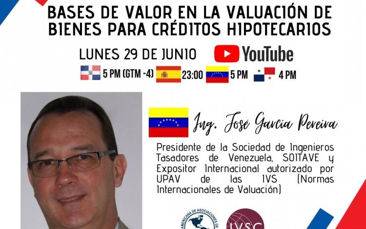 """CHARLA ONLINE """" BASES DE VALOR EN LA VALUACIÓN DE BIENES PARA CRÉDITOS HIPOTECARIOS, LUNES 29 DE JUNIO 2020"""